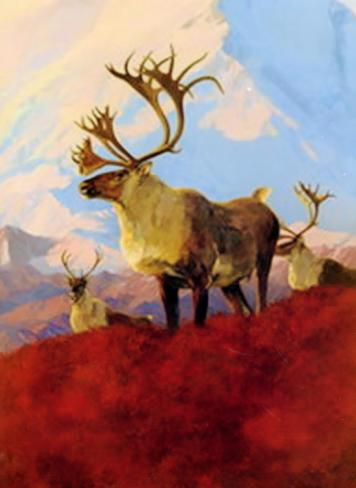"Osborne Caribou - Oil On Panel - 25 x 18 - ""Game Animals of North America"" by Bryon Dalrymple"