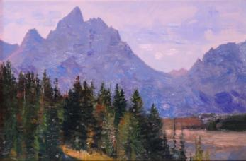 The Grand Tetons - from Dead Mans Bar - 1994 - Oil On Panel - 8 x 12