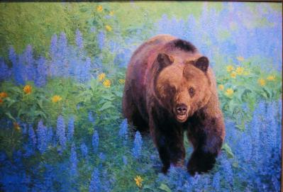 Arrow Root and Lupine - Grizzly - 2003 - Oil On Panel, 20 x 30
