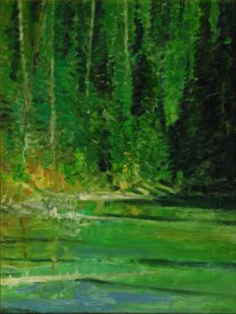 Peaceful Pond, Emerald Lake, Yoho Natl Park - British Columbia - 1995 - Oil On Canvas - 12 x 9