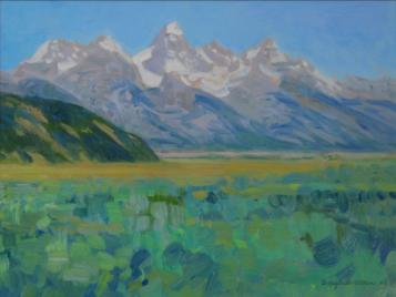 Tetons from Kelly - 2006 - Oil On Canvas - 9 x 12