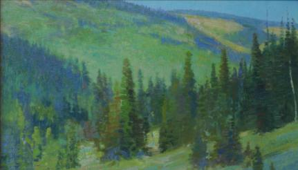 Carl Rungius Country, Wyoming - 1999 - Oil On Panel - 9 x 13 1/2 - Wyoming from 1895-1910